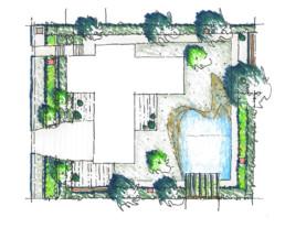 STrauma Landschaftsarchitektur Berlin landscape architects Hausgarten Grunewald Lageplan Handzeichnung Skizze
