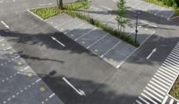 STrauma Landschaftsarchitektur Berlin landscape architects Bayer Pharma neues Parkplatzkonzept Zebrastreifen Pedestrian Zone