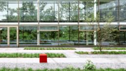 STrauma Landschaftsarchitektur Berlin landscape architects Grün Rot Büro Außenplaner Block Glasfassade