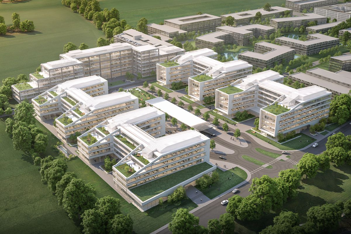 STrauma Landschaftsarchitektur Berlin landscape architects Koryfeum Unterschleißheim Business Campus © 2020 Gewers & Pudewill / Bloomimages Vogelperspektive