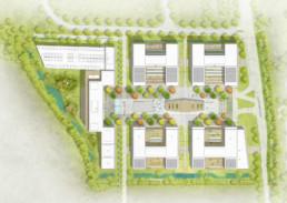 STrauma Landschaftsarchitektur Berlin landscape architects Koryfeum Unterschleißheim Business Campus Lageplan