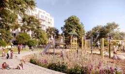 STrauma Landschaftsarchitektur Berlin landscape architects carossa quartier spandau perspektive Wohnhof