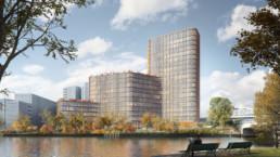 Hochhaus am Nordhafen Berlin Kleihues + Kleihues Architektur st raum a landschaftsarchitektur Bloomimages Perspektive
