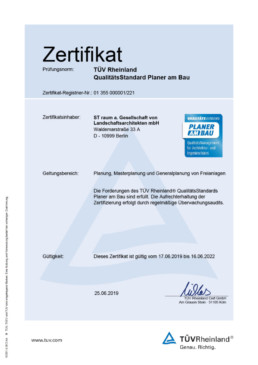 Zertifikat Planer am Bau Qualitätsmanagement st raum a