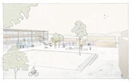 Wettbewerb Hammelburg schulzentrum campus st raum a landschaftsarchitektur berlin gewinner Perspektive