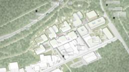 wettbewerb helmholtz campus cispa saarbrücken axonometrie raumwerk st raum a landschaftsarchitektur