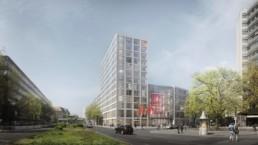 ST raum a berlin Bürogebäude DGB neubau landschaftsarchitektur perspektive ortner architektur